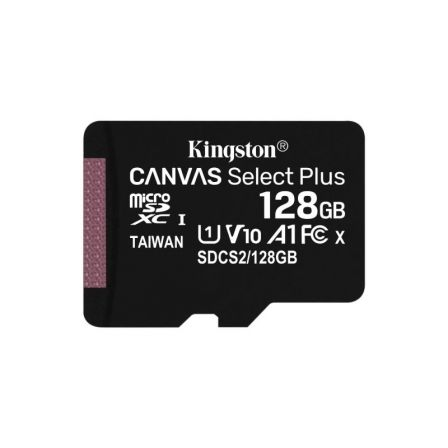 TARJETA MICROSD XC KINGSTON CANVAS SELECT PLUS - 128GB - CLASE 10 - 100MB/S